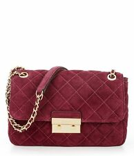 Michael Kors Sloan Large Chain Quilted Suede Leather Shoulder Bag (Plum Red)