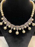 99,35 Cts Runde Brilliant Cut Diamanten Südseeperlen Halskette In 750 18K Gold