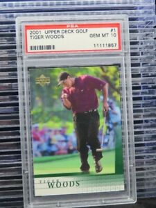 2001 Upper Deck Tiger Woods Rookie Card RC #1 PSA 10 F77