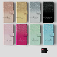 Personalised Initials Samsung iPhone Wallet Phone Case Ombre Faded  Glitter