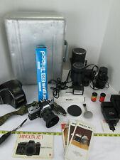 Vintage Minolta XE-1 Film Camera w Extras Lenses Case Flash Tripod AC Adapter