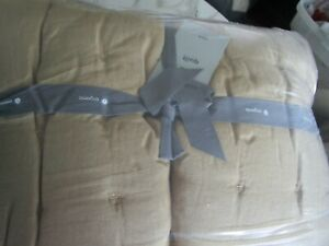 West Elm European Flax Linen Tack Stitch Quilt twin Camel New