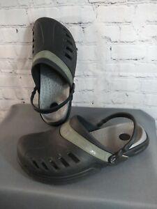 EUC men's black CROCS rubber CROSLITE A9 classic clog - size 12 /  AWESOME!!!!!
