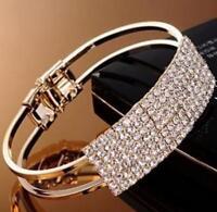 Ladies Women Silver Gold Crystal Rhinestone Bracelet Bangle Wedding Bridal Gift