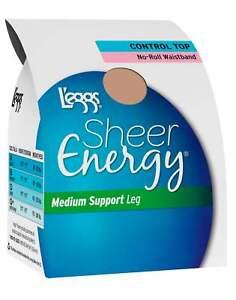 L'eggs Sheer Toe Pantyhose 4 pk Energy Waistband Free Control Top Medium Support
