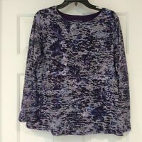 Coldwater Creek Top Womens Sz Large Multi-Color Long Sleeve Double Layer Shirt