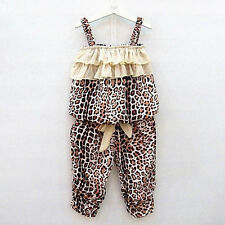 Child Baby Girls Leopard Print Suits Strapless Tutu Vest+Pants Kids 2pcs Outfits