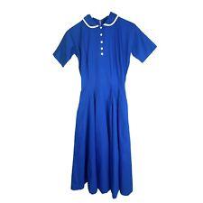 Vintage Dress Lace Peter Pan Collar Fit & Flare Short Sleeve Cotton Blend XS/S