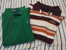 lot of 2 mens polo shirts size L green Polo and white/brown Dickies short sleeve