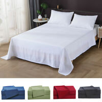 Quality 4 Piece Deep Pocket Fitted Bed Sheets Set Home Hotel Luxury Soft Bedding