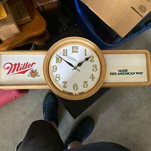 "VINTAGE 1980's MILLER BEER CLOCK  30"" Working."