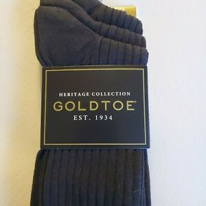 Mens NWT Gold Toe Heritage black Canterbury Extended Size 3 pair size 12-16