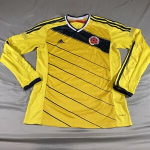 Adidas Colombia National Soccer Team Long Sleeve Climacool Jersey Yellow Size L