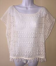 Victoria's Secret Beach Coverup Swim Ivory Crochet Top Fringe Hem Large $79.50