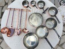 CVD Villedieu 13 pc flared copper pans 5 copper ustensils frying copper pan tin