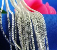 1.4MM 925 Silver Plated Chain Men&Women Necklace BOX Chain 16-30inch Wholesale