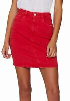 Guess Womens Talia Denim Mini Skirt Red Medium M Frayed Step Split-Hem $69 162