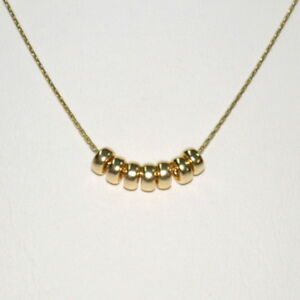 14kt Gold Filled Fine 0.6mm Chain Necklace with 7 pcs 4mm Rondelle Beads