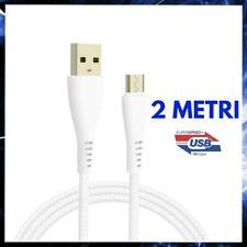 CAVO MICRO USB 2 METRI PER SAMSUNG RI/CARICA/BATTERIA RAPIDA VELOCE CAVETTO DATI