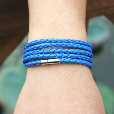 Blue Faux Leather Braided Rope Bracelet Wristband Mens   Bangle Cuff Gift
