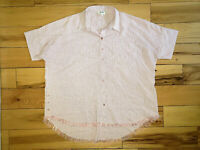 Womens Umgee Short Sleeve Button Up Striped Shirt Size Large L Top Blouse