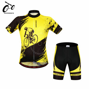 Men's Short Sleeve Cycling Jersey Padded Shorts Set Team Wear Riding Clothing