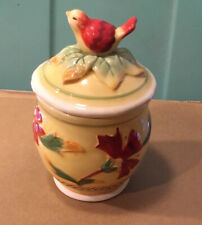 #A880 ~ VINTAGE FITZ AND FLOYD COVERED JAR RED BIRD