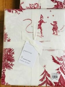 Pottery Barn Santa Toile Sheet Set Red King Christmas Holiday