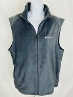 Columbia Womens Fleece Vest Size Large Full Zip Dark Gray Warm