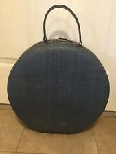 """Vintage American Tourister 16"""" Round Train Case Hat Box Luggage Carry-on Blue"""
