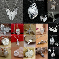 Lot Women 925 Silver Crystal Heart Pendant Necklace Chain Party Jewelry Gift