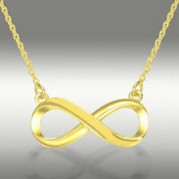 Infinity Pendant Necklace Genuine 14k Solid Yellow Gold 16+2 Inches Chain Gift