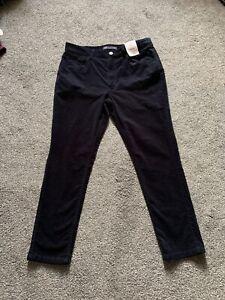 M&s Navy Mid Rise Skinny Cord Trouser Pants Size 12 XS  BNWT Free Sameday P&p