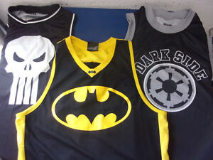PICK 1 Basketball style Jersey Batman Med, Punisher Small, Star Wars Vader Small