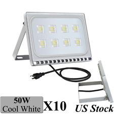 10Pcs Viugreum 50W Led Flood Lights Cool White Outdoor Plaza Garden Lamp Us Plug