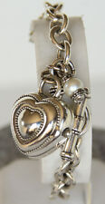 Ecclissi Sterling Silver Heart Pearl Charm Jewelry Toggle Bracelet 32760 Watch