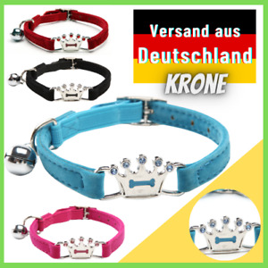 Cat Collar With Bell Rhinestone Crown Fleece Stretch Band Cat And Dog