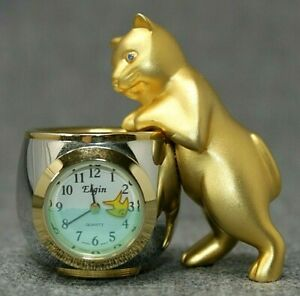 "VINTAGE ELGIN Gold Cat with Fishbowl Mini Quartz Clock, 2 1/4"" Tall UNTESTED"
