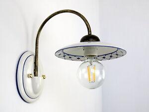 applique lampada da parete classico rustico country ceramica blu cucina camera