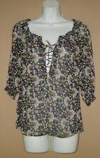 Old Navy Womens Size Small Long 3/4 Sleeve Casual Fall Floral Blouse Top Shirt