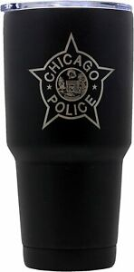 Chicago Police Department Tumbler Stainless Steel Vacuum Thermos Black 30oz NEW