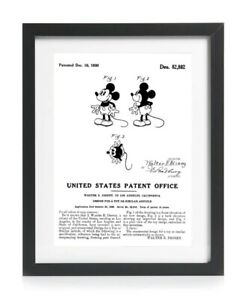 Official Mickey Mouse 1930 US Patent Art Print - Vintage Walt Disney A4 Gift