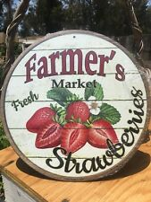 Farmers Market Fresh Strawberries Round Sign Vintage Garage Bar Decor Old Rustic