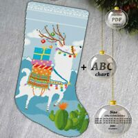 Christmas stocking Llama-Deer Embroidery Cross stitch PDF Pattern - 093