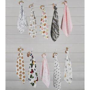 """Mud Pie E1 Baby Wood Teether & 9.5""""x4.25"""" Muslin Cuddler Blanket - Choose Design"""