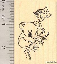 Koala with Australian Flag Rubber Stamp H13320