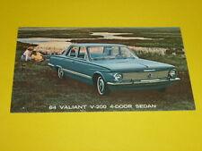 1964 PLYMOUTH VALIANT V-200 4-DOOR SEDAN POSTCARD, DEALER ADVERTISEMENT