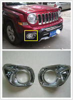 2pcs Chrome Front Fog Lamp Head Fog Light Cover Trim For Jeep Patriot 2011-2015