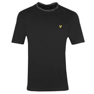 Lyle & Scott Mens Branded Ringer Crew Neck T-Shirt Jet Black