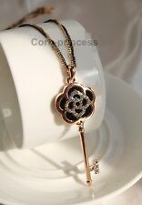18K Rose Gold Plated Crystal Black Enamelled Key Flower Long Necklace Camellia